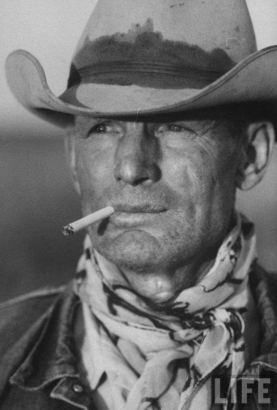 Leonard McCombe /b.1930/: Portrait of Texas Cowboy C.H.Long aka Malboro Man, 1949