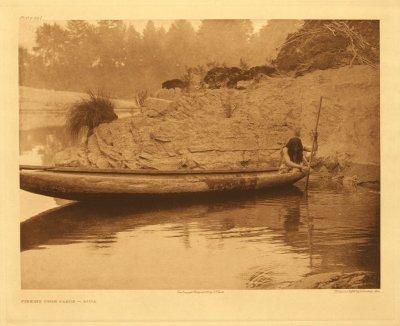 Fishing from canoe - Hupa