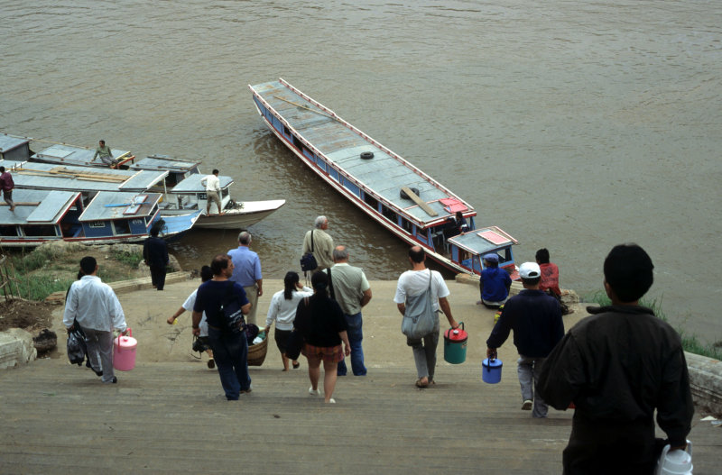 Embarking for a full day cruise on the Mekong