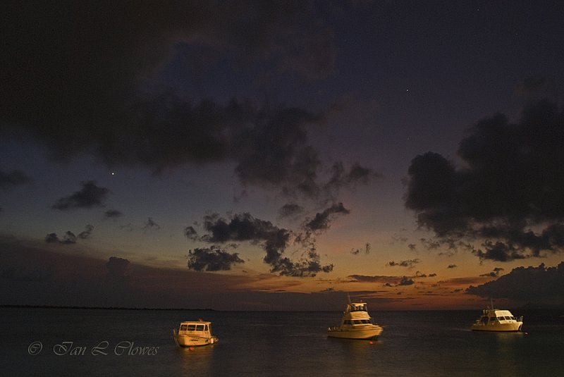 dive boats at night