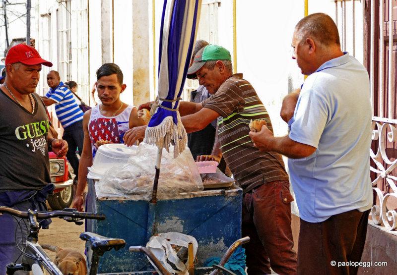 Street Food in Trinidad,Cuba: Pan con Lechon in all its glory.
