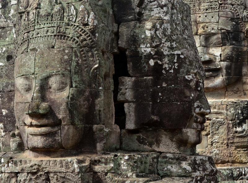 Three stone faces at Bayon Temple
