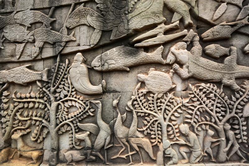 Bas-relief in Angkor Wat