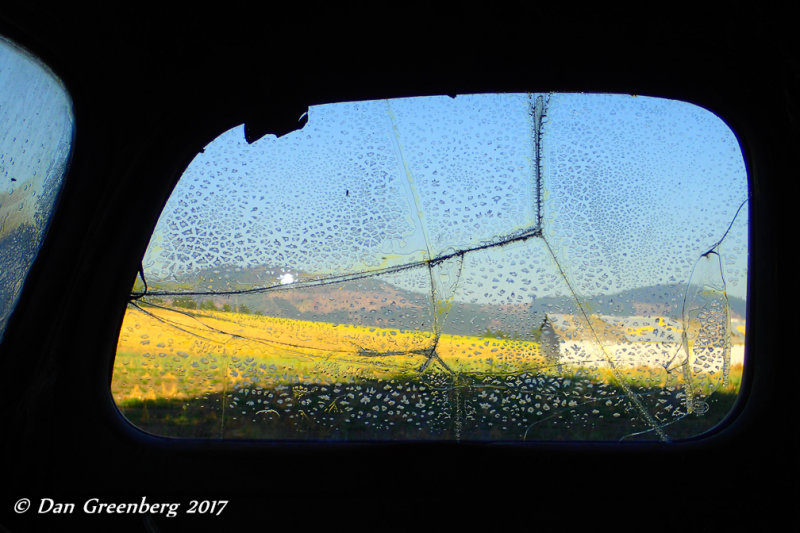 Farmland Abstract through Broken Glass