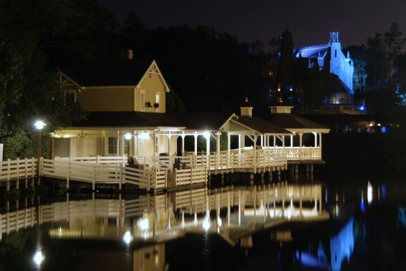 Aunt Pollys at night, and Haunted Mansion