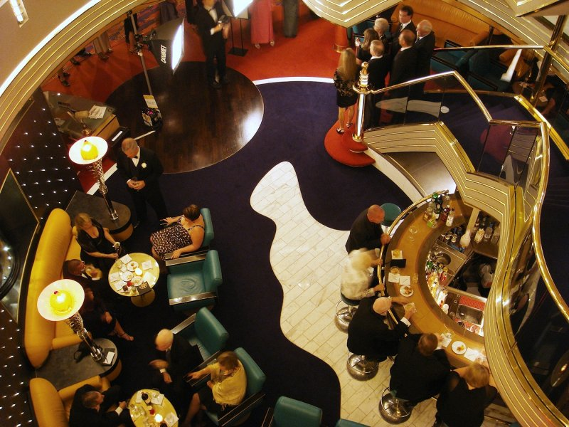 Zuiderdam atrium bar on formal night