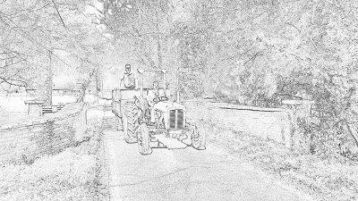 Farmer Boys Line Drawing