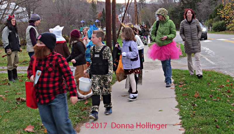 The parade of Trick or Treaters in South Strafford Vermont