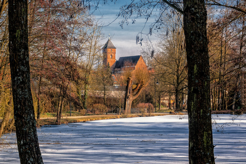 Frozen Village Pond  and  Church