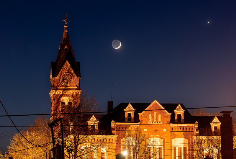 Moon & Venus over Historic Courthouse