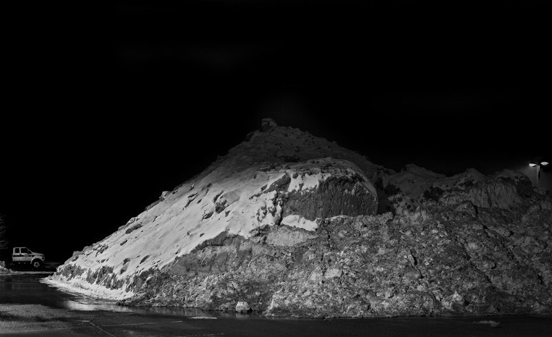 The snow pile gets higher.