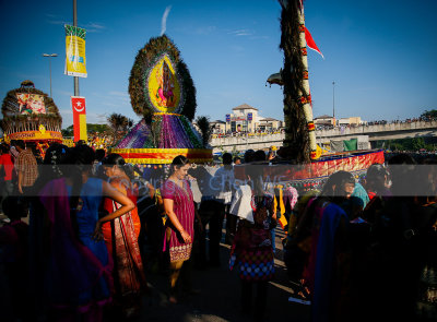 Kavadi carriers walking to the temple