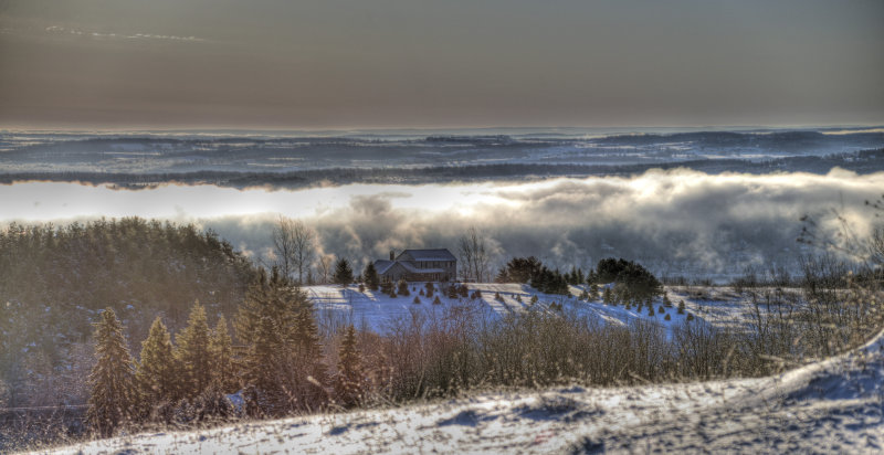 steam rising from Canandaigua Lake