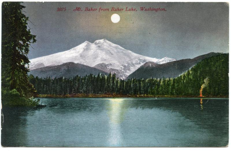 Mount Baker From Baker Lake, Washington <br>(NCpostcard_004-2.jpg)