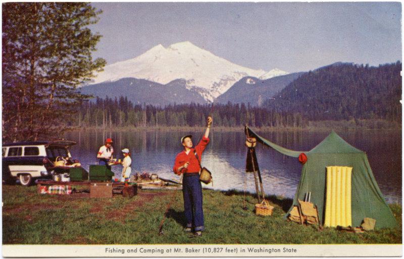 Camping On Baker Lake, Washington <br> (NCpostcard_009-5.jpg)