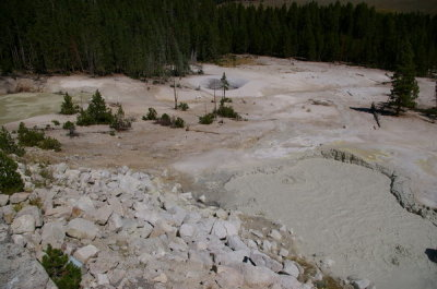 Bubbling mud and sulphur pools