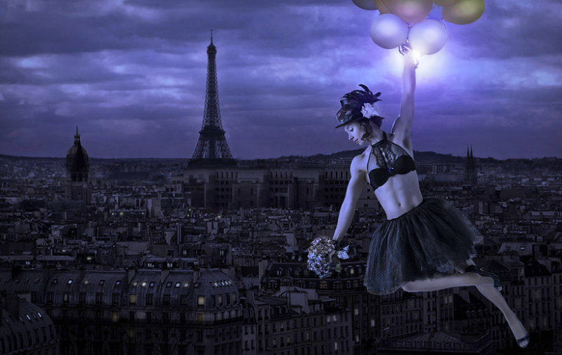 Night flight over Paris.