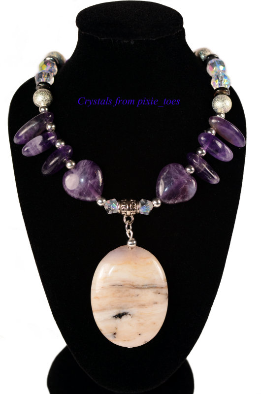 Purple Amethyst Gemstone Bold Statement Necklace with Pendant