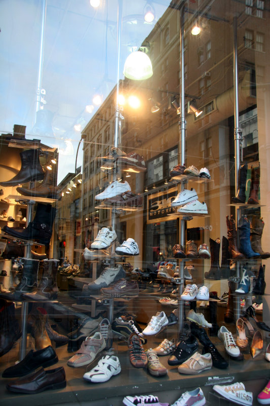 Shoe Window Reflections at Spring Street