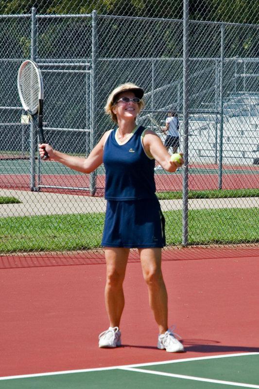 Debbie Hill plays tennis with friends at Crockett Park