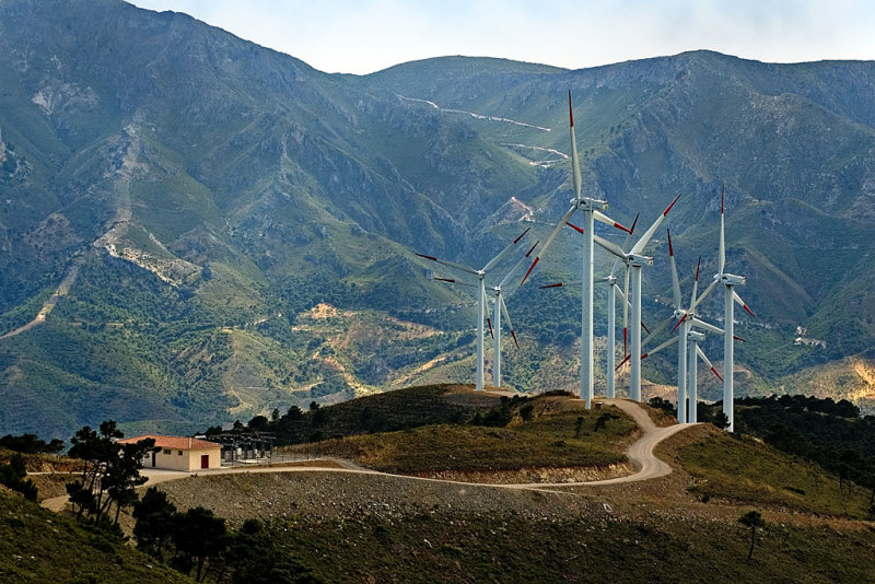 Turbines and mountain, Sierra de Aquas