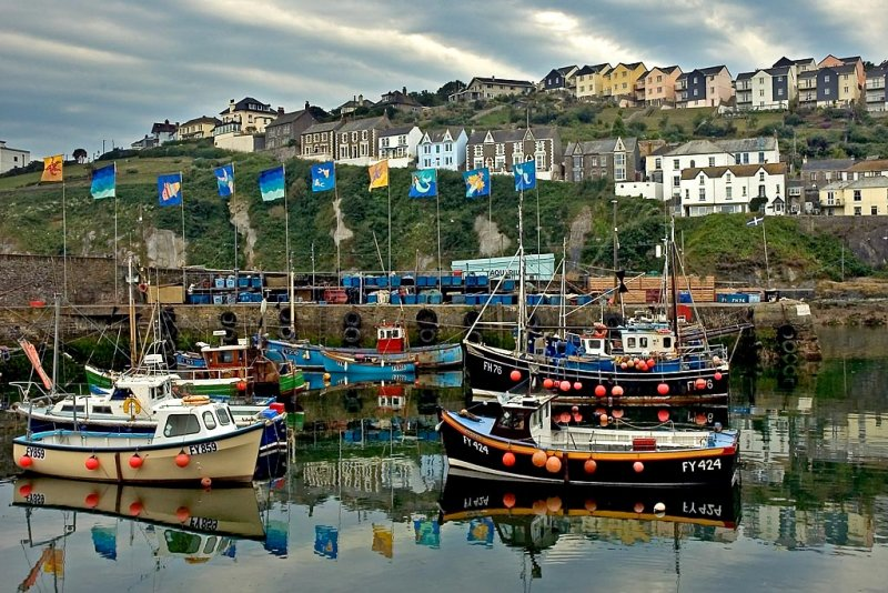 Boats, flags and houses, Mevagissey, Cornwall