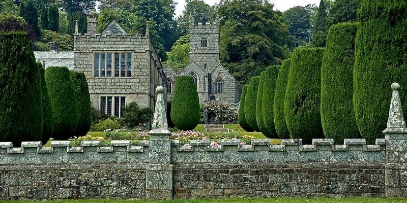 Front wall and church, Lanhydrock, Cornwall