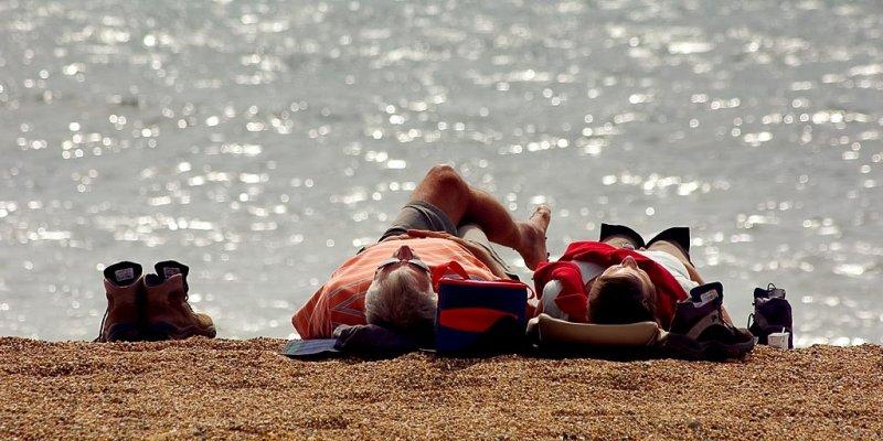 Soaking up the sun, Hive beach