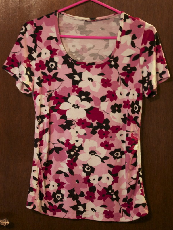 Ann T-Top made from floral rayon jersey
