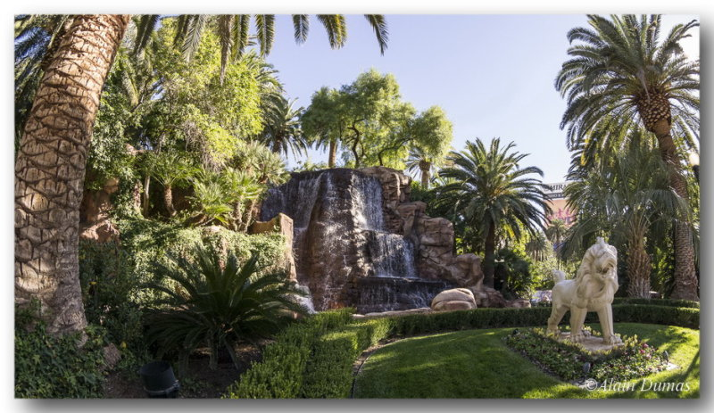 One of many cascades, falls in front of the Mirage.