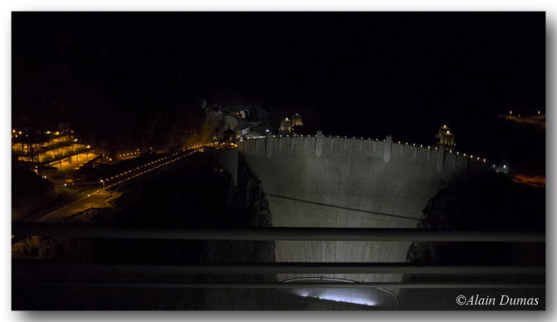 The Dam from the bus at night.