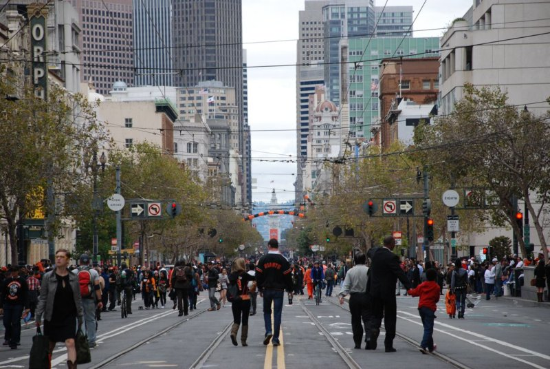 Looking Down Market St at the SF Giants World Series Champions Victory Parade