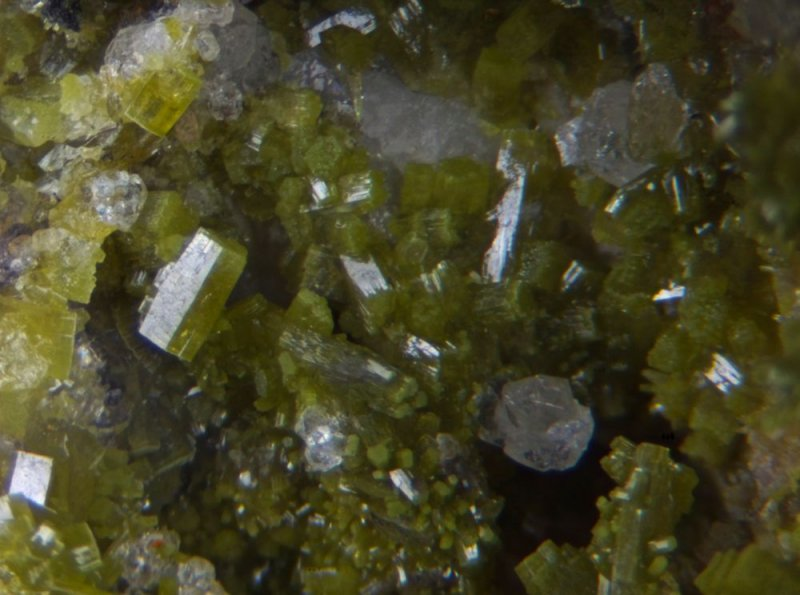 Pyromorphite,  Saddleback Old Mine, Glenderamackin Valley, Mungrisdale, Cumbria.