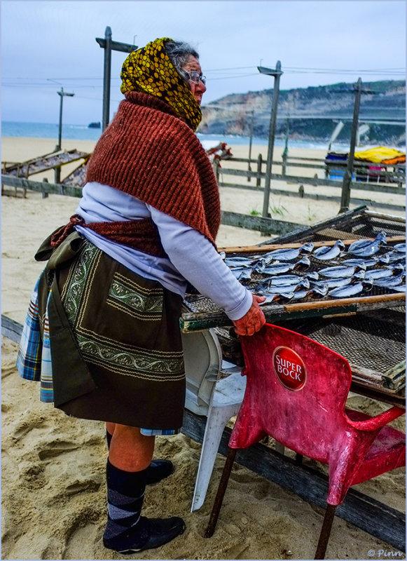 Nazaré Woman Drying Fish