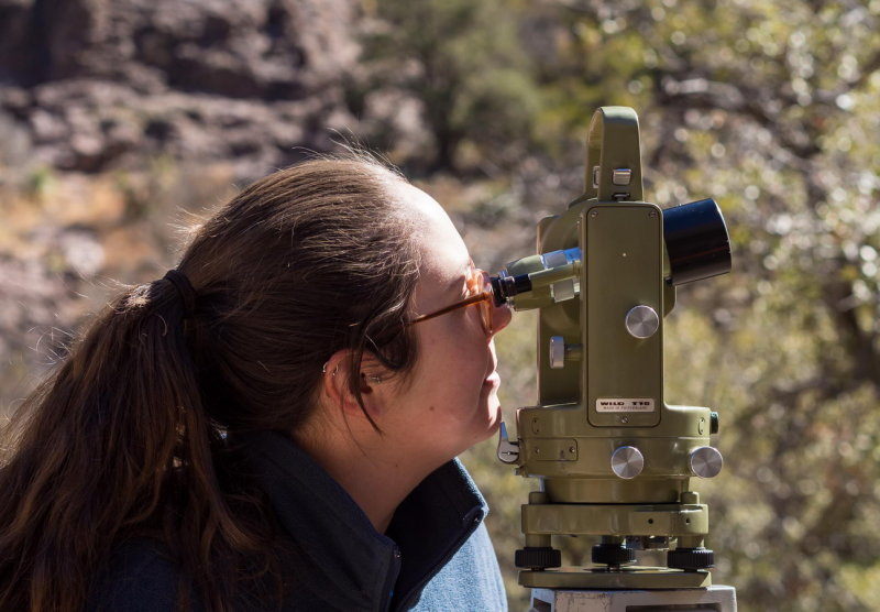 Briana Bianco using a standard theodolite