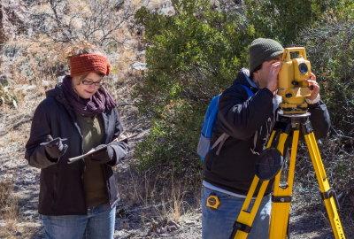 Chris Diaz and Kristin Corl, setting the horizontal angle