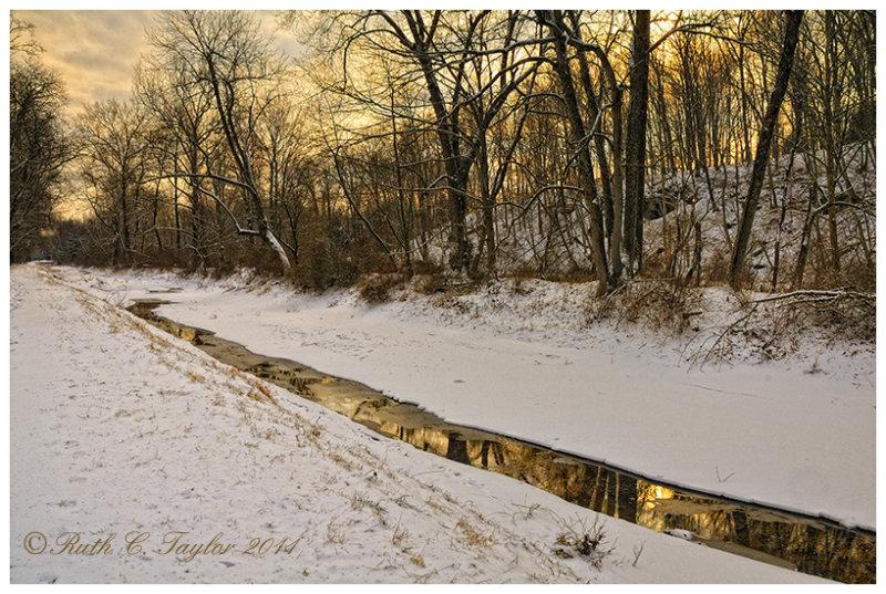 Winter Sunset Along the Canal, Tinicum