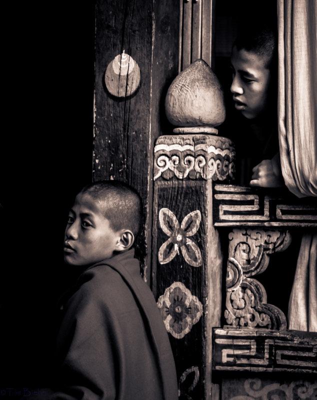 Monks at the Paro Dzong