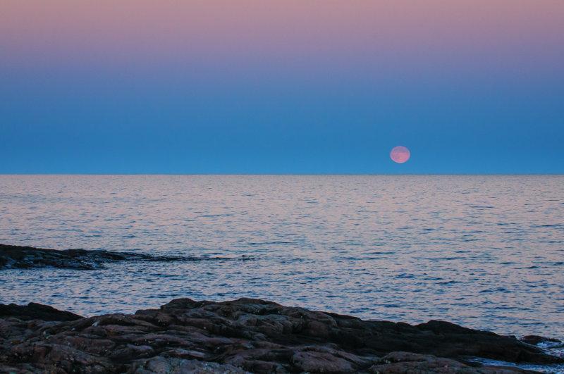 Moon rise over Lake Superior