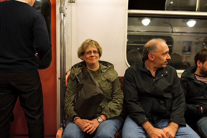 Steph And Dan In SubwayTrain