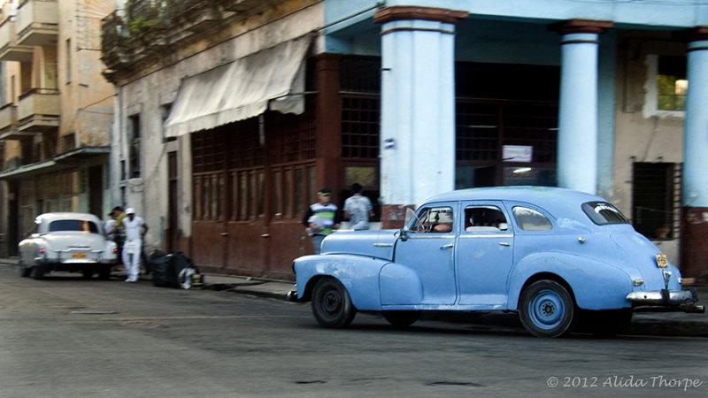 blue in street