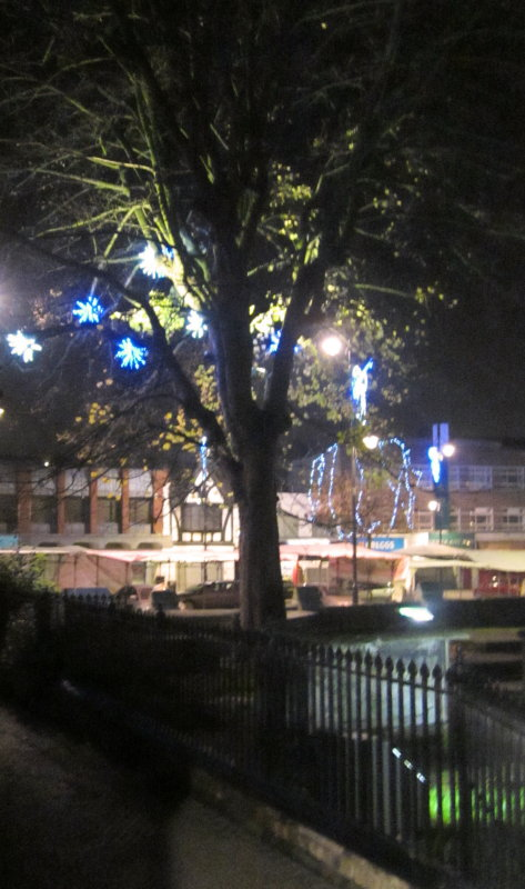 Christmas  lights  twixt  market  and  graveyard.