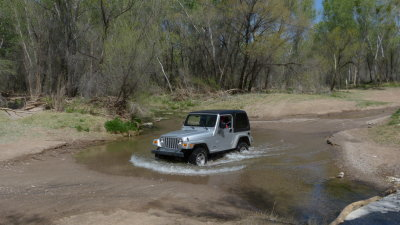 The Jeep crossing the San Pedro River