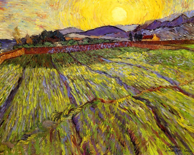 Wheat Field With Sun Rise By Van Gogh