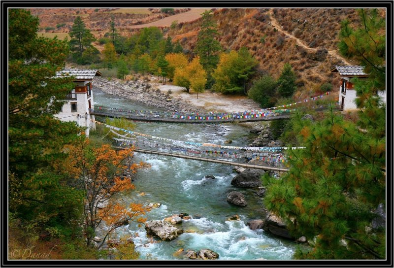 Twin bridges in Paro District.