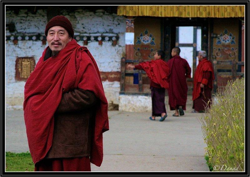Monks in Tamshing Monastery.