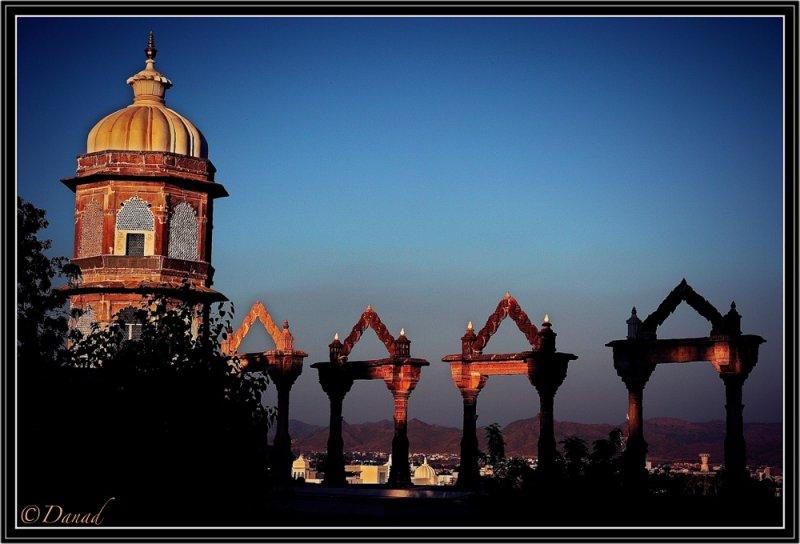 Sunset on Royal City Palace. Udaipur.