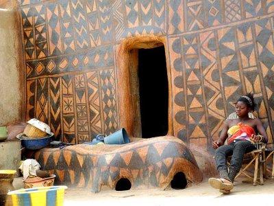 In the royal compound of the Kassena (Gurunsi) village of Tiébélé, Burkina FasoJPG