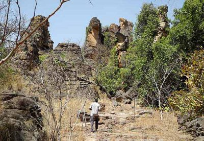 Rocks of Douna, where people took refuge in 12 caves during tribal wars, Burkina Faso