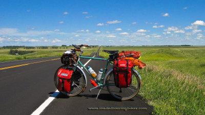431    Judy touring North Dakota - Rivendell Atlantis touring bike